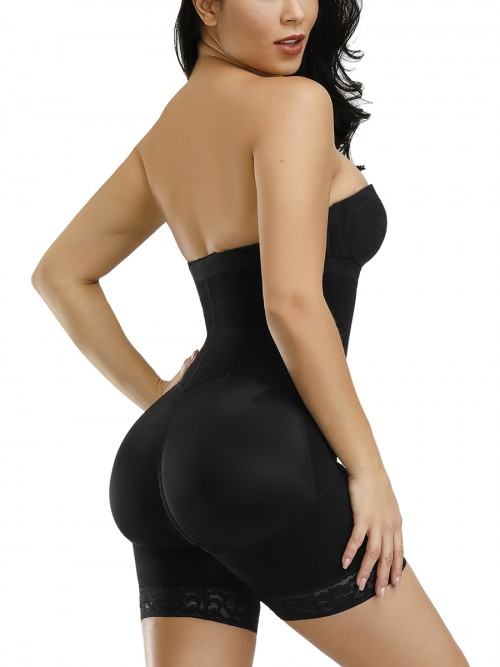 Black Full Body Shaper Two Plastic Bones Straps Flatten Tummy