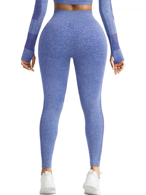 Skinny Blue Mesh Patchwork High Rise Yoga Leggings Medium Support