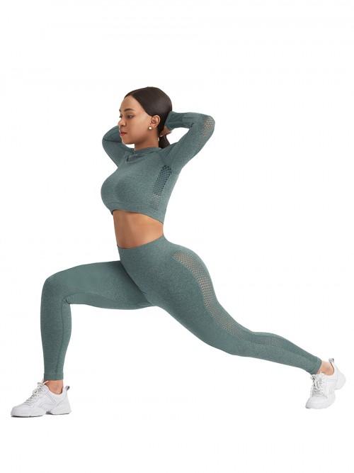 Skinny Green Mesh Patchwork High Rise Yoga Leggings Medium Support