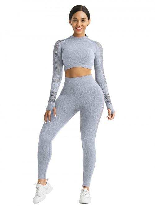 Skinny Light Blue Mesh Patchwork High Rise Yoga Leggings Medium Support