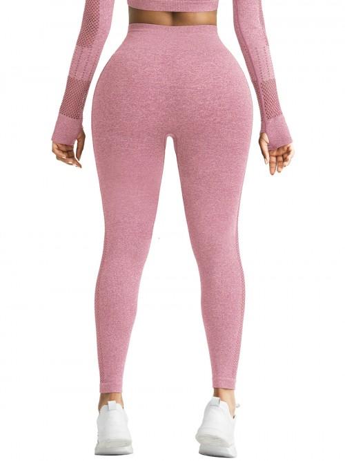 Skinny Pink Mesh Patchwork High Rise Yoga Leggings Medium Support