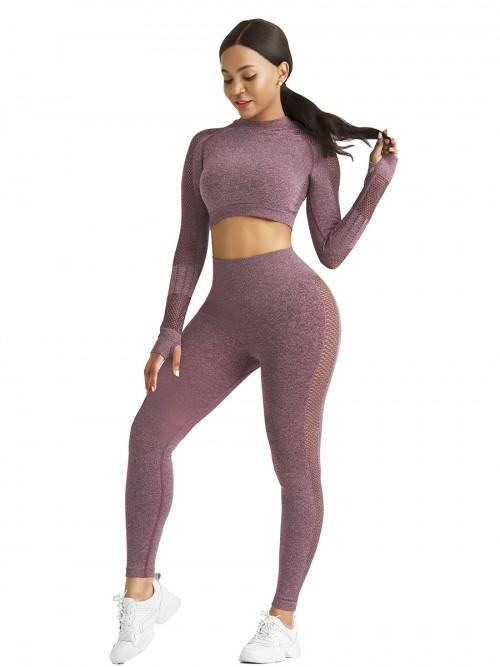 Skinny Wine Red Mesh Patchwork High Rise Yoga Leggings Medium Support
