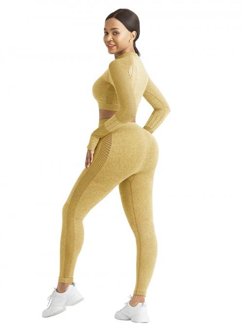 Skinny Yellow Mesh Patchwork High Rise Yoga Leggings Medium Support