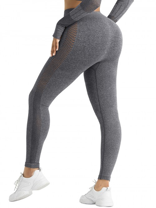 Skinny Black Mesh Patchwork High Rise Yoga Leggings Medium Support