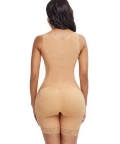 Skinny Skin Color Plus Size Underbust Bodysuit Zipper Bodycon