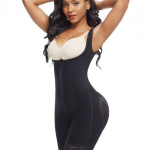 Skinny Black Plus Size Underbust Bodysuit Zipper Bodycon