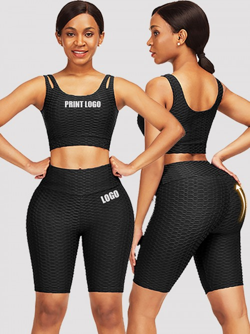 Sleek Black Scoop Neck Training Suits High Waist For Upscale