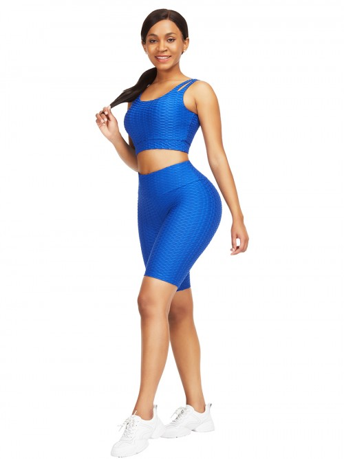 Sleek Blue Scoop Neck Training Suits High Waist For Upscale
