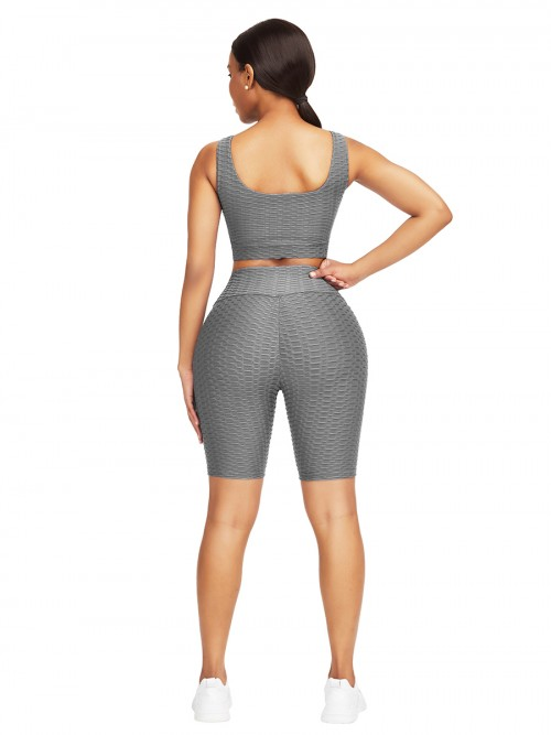 Sleek Gray Scoop Neck Training Suits High Waist For Upscale