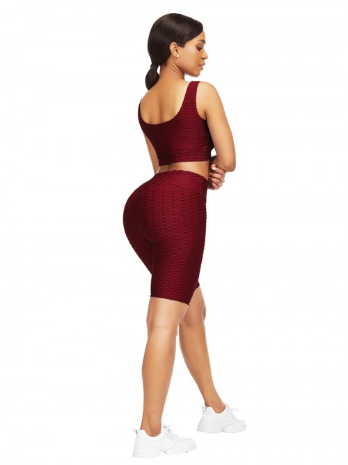 Sleek Red Scoop Neck Training Suits High Waist For Upscale