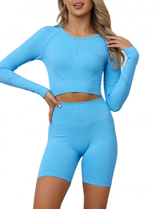 Slinky Blue Full Sleeves Crop Sports Suit Seamless Stretchy