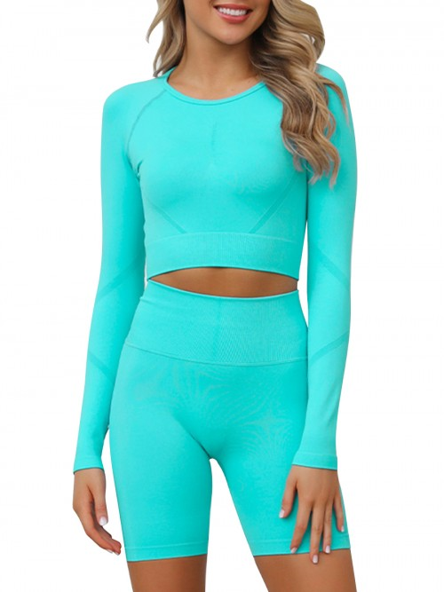 Slinky Green Full Sleeves Crop Sports Suit Seamless Stretchy
