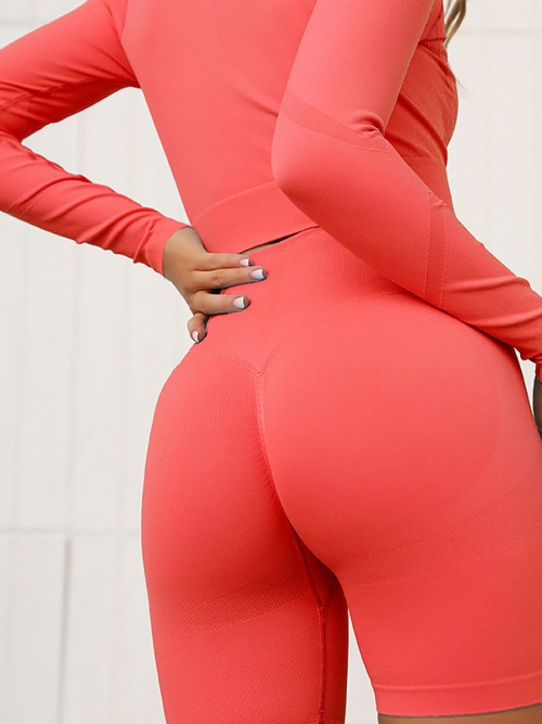 Slinky Red Full Sleeves Crop Sports Suit Seamless Stretchy