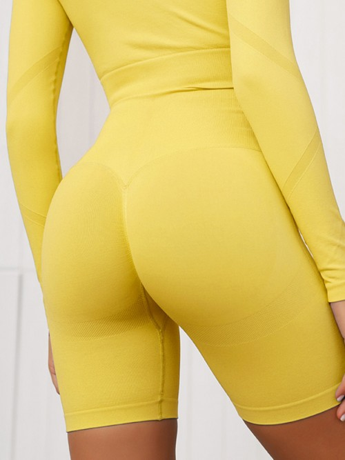 Slinky Yellow Full Sleeves Crop Sports Suit Seamless Stretchy