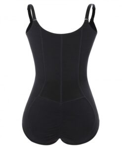 Smooth Silhouette Black Large Size Full Body Shaper Front Zipper Firm Control