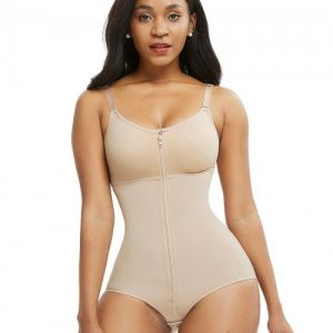 Smooth Silhouette Skin Color Large Size Full Body Shaper Front Zipper Firm Control