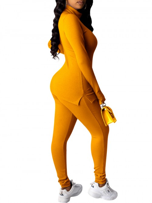 Smooth Yellow High Neck Sports Suit With Thumbhole Outdoor