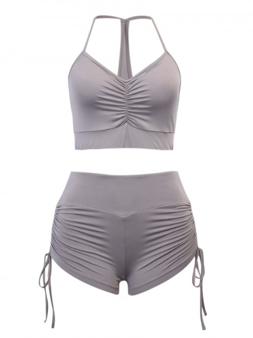 Soft-Touch Grey Slender Strap Bra High Rise Shorts Feminine Curve