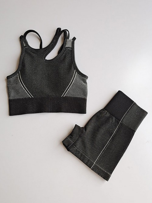 Sophisticated Black Seamless Cropped Athletic Suit Cut Out All Over Smooth