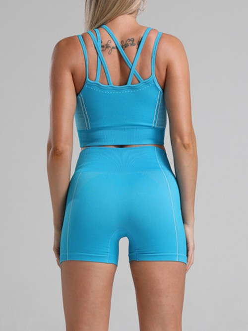 Sophisticated Blue Seamless Cropped Athletic Suit Cut Out All Over Smooth