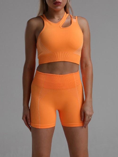 Sophisticated Orange Seamless Cropped Athletic Suit Cut Out All Over Smooth