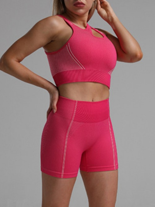 Sophisticated Pink Seamless Cropped Athletic Suit Cut Out All Over Smooth