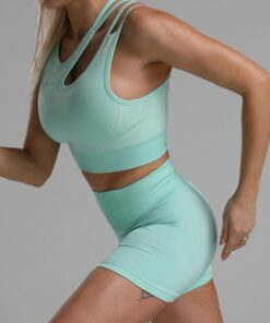 Sophisticated Green Seamless Cropped Athletic Suit Cut Out All Over Smooth