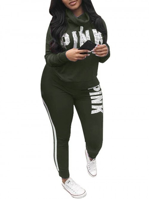 Sportive Green Cowl Neck Big Size Letter Sport Suit Athletic Apparel