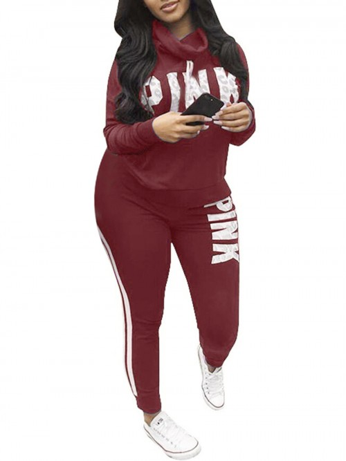Sportive Red Cowl Neck Big Size Letter Sport Suit Athletic Apparel