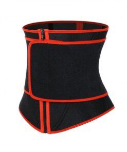 Streamlined Red Zipper Neoprene Waist Cincher With Belt Comfort
