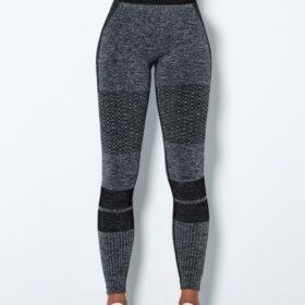 Stretchable Black High Waist Yoga Leggings Seamless Tops For Women