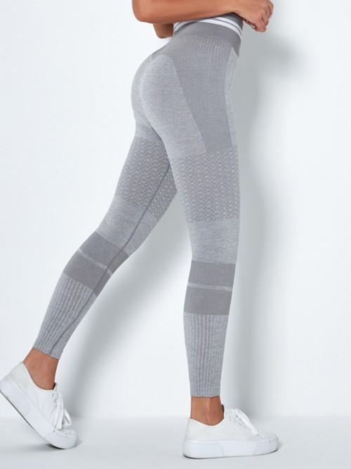 Stretchable Light Grey High Waist Yoga Leggings Seamless Tops For Women