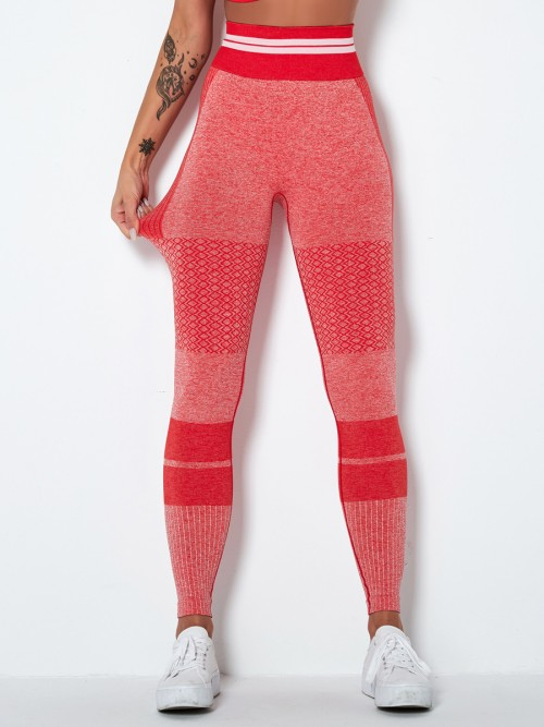 Stretchable Red High Waist Yoga Leggings Seamless Tops For Women