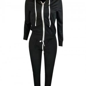 Stretchy Black Drawstring Hooded Pockets Athletic Suit Elegance