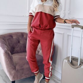 Stunning Red Hooded Neck Sweatsuit Big Size Zipper Tight