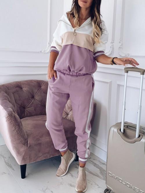 Stunning Pink Hooded Neck Sweatsuit Big Size Zipper Tight
