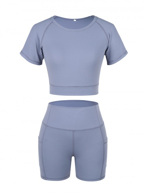 Sunset Blue Solid Color Round Collar Sweat Suit For Girls