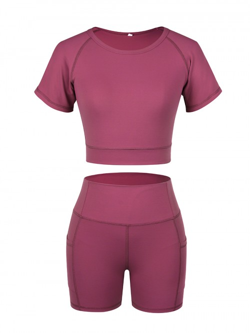 Sunset Red Solid Color Round Collar Sweat Suit For Girls