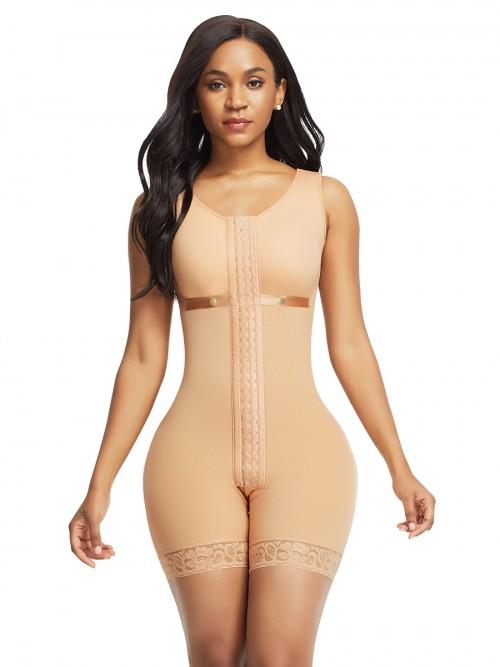 Super Trendy Skin Color Front Hooks Full Bodysuit Lace Trim Contouring Sensation