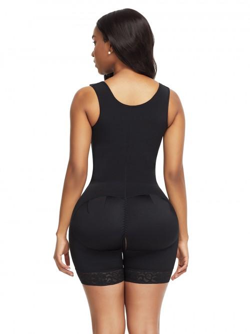 Super Trendy Black Front Hooks Full Bodysuit Lace Trim Contouring Sensation