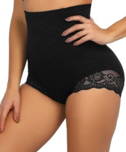 Superfit Black Floral Lace Butt Enhancer Panty Anti-Curling Ultra Hot