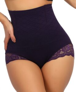 Superfit Purple Floral Lace Butt Enhancer Panty Anti-Curling Ultra Hot