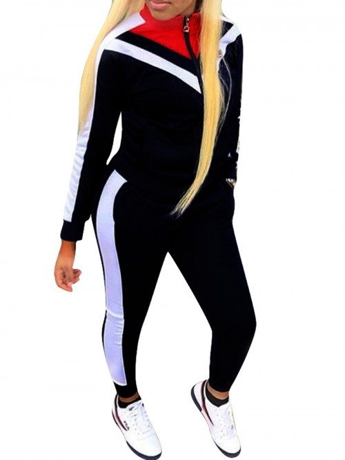 Swimming Black Colorblock Big Size Zipper Sport Suit Stretched