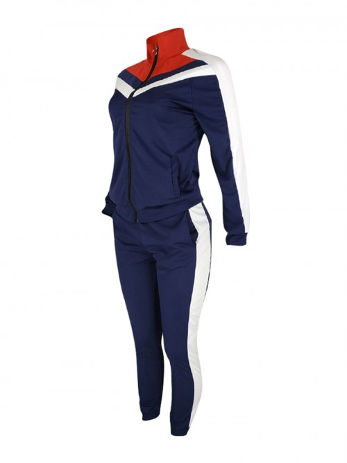 Swimming Blue Colorblock Big Size Zipper Sport Suit Stretched