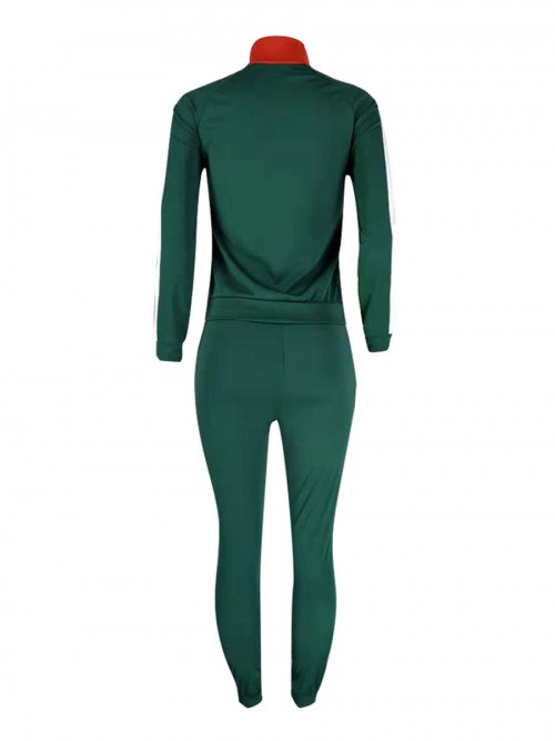 Swimming Green Red Colorblock Big Size Zipper Sport Suit Stretched