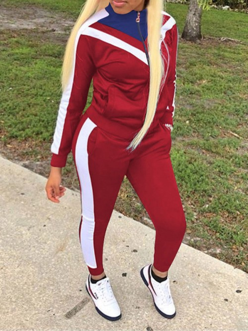 Swimming Wine Red Colorblock Big Size Zipper Sport Suit Stretched