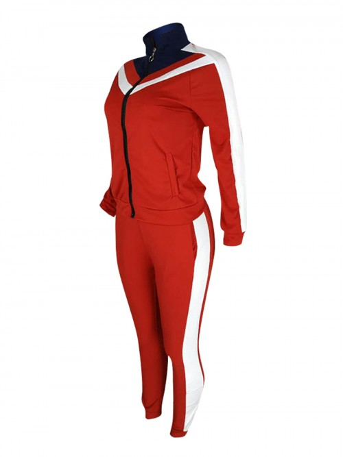 Swimming Red Colorblock Big Size Zipper Sport Suit Stretched