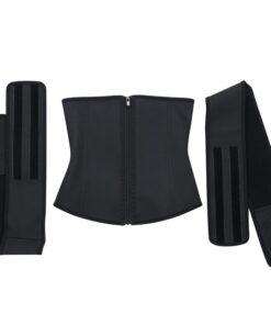 Thermo Heating Black 7 Steel Bones Waist Cincher Double Belts