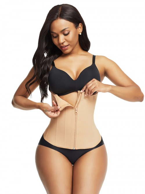 Thermo Heating Deep Skin Color 9 Steel Bones Waist Trainer Zipper