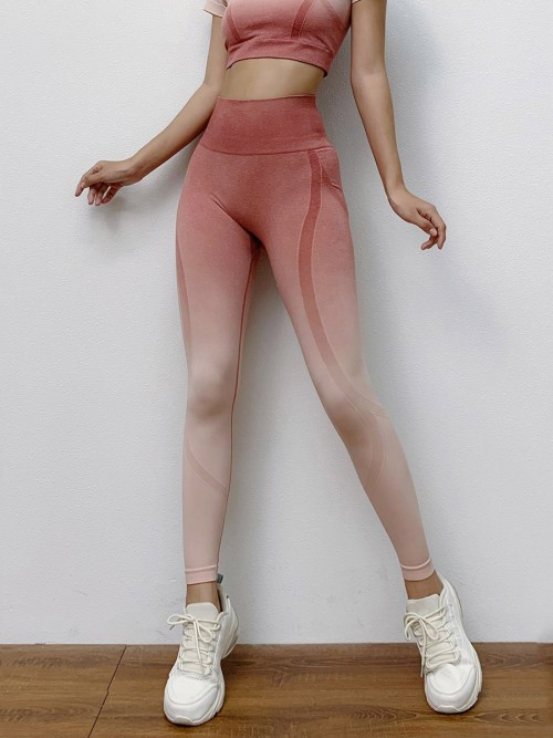 Tight Pink Seamless Yoga Suit Gradient High Rise Running Clothes